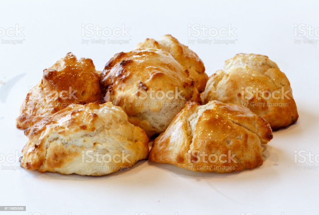 buttered biscuits stock photo
