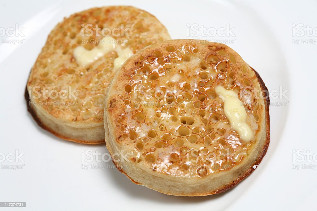 Buttered Crumpets royalty-free stock photo