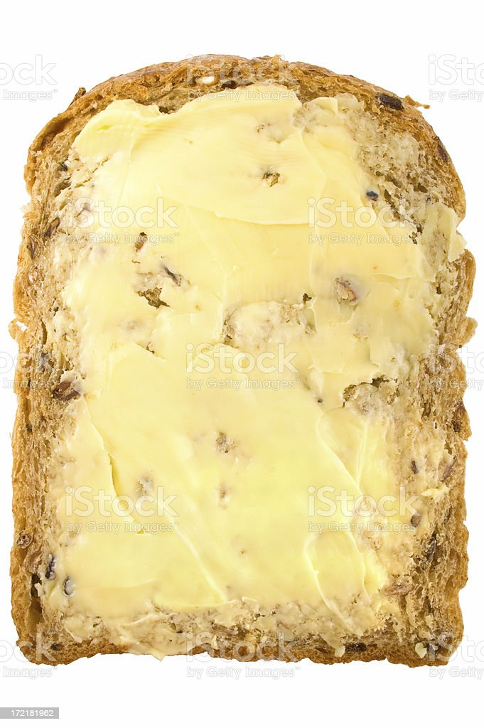 Buttered Granary Bread plan view royalty-free stock photo