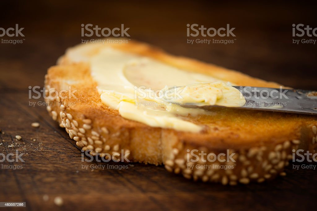 Buttered Toast stock photo