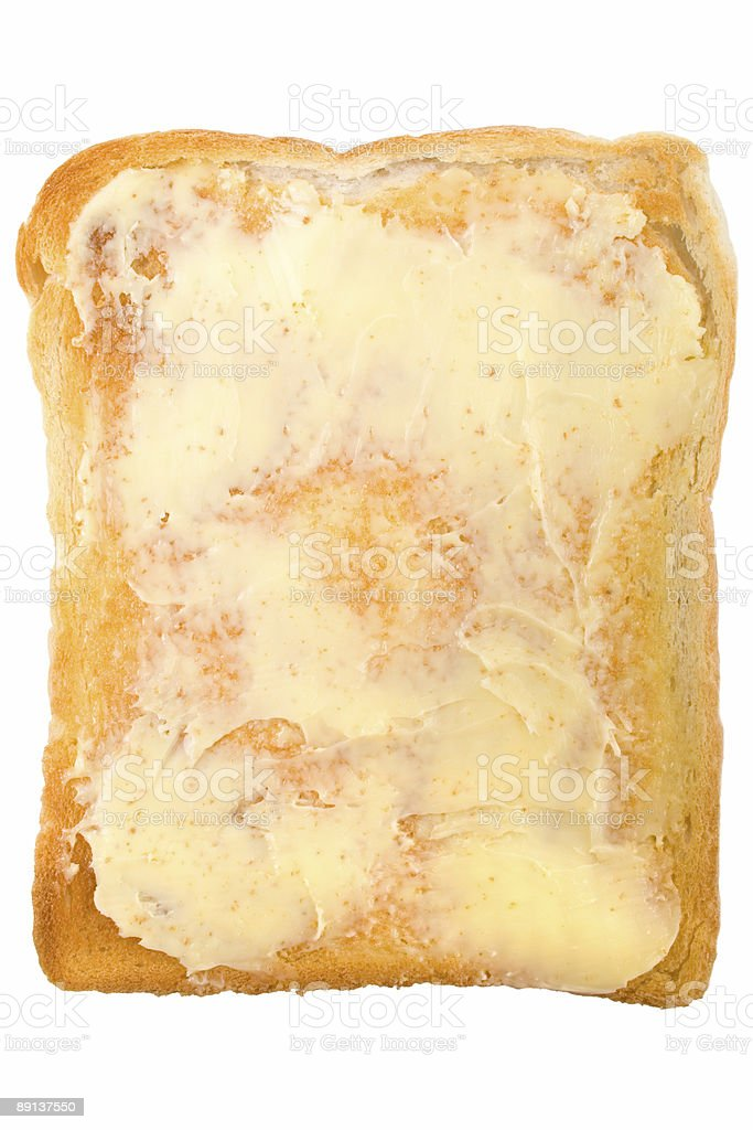 Buttered White Toast plan view royalty-free stock photo
