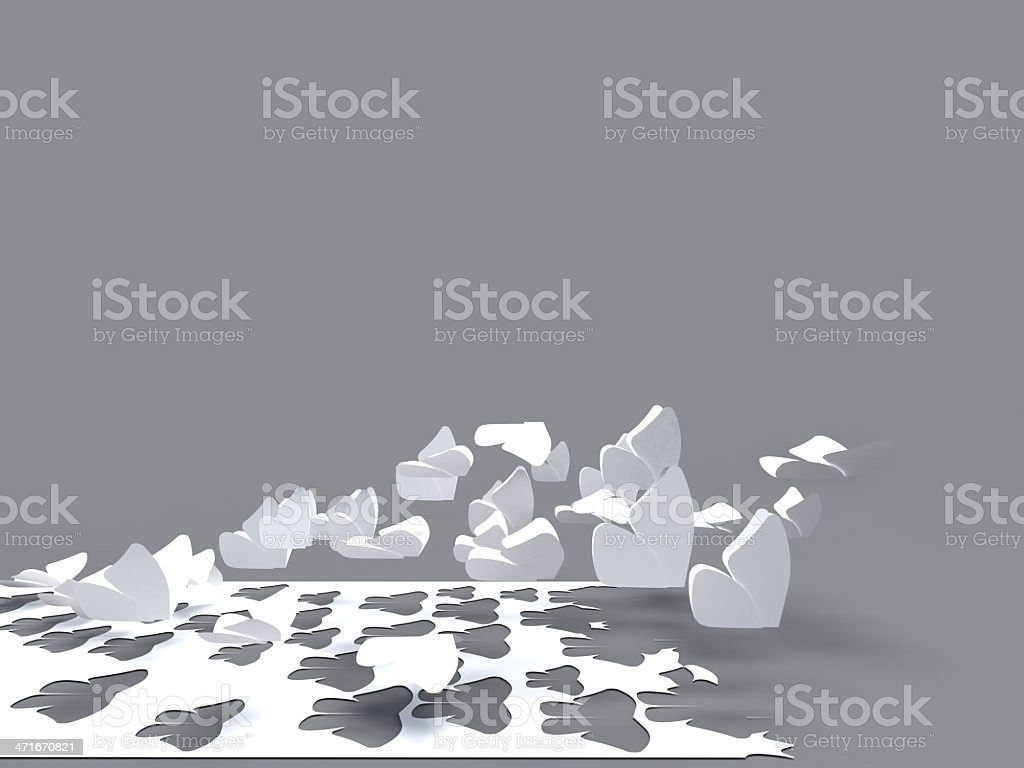 Butterfles flying out of a white paper stock photo