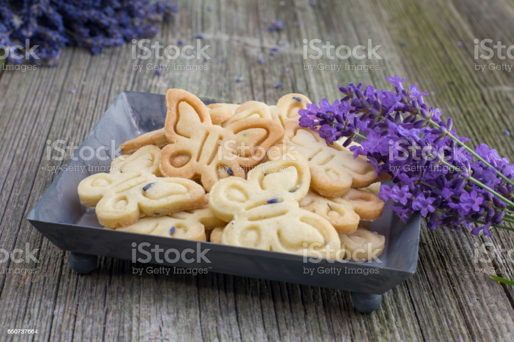 Butterflies Butter Biscuits Cookies with Lavender on Sheet tray stock photo