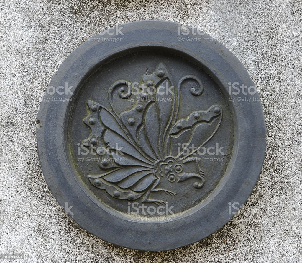 Butterfly crest, or clan symbol, of ancient Japan stock photo