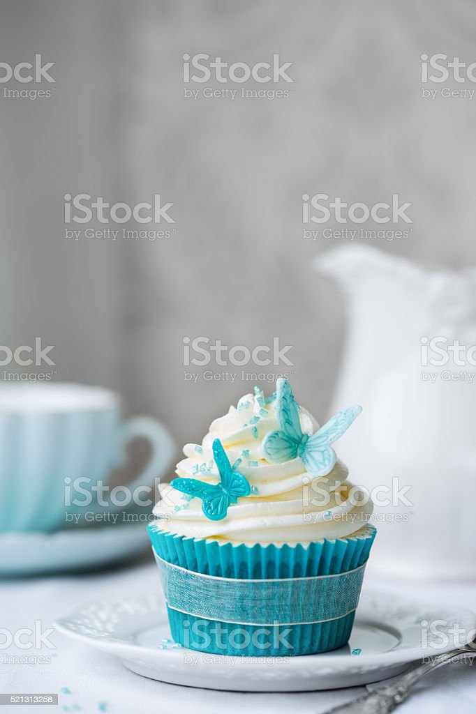 Butterfly cupcake stock photo