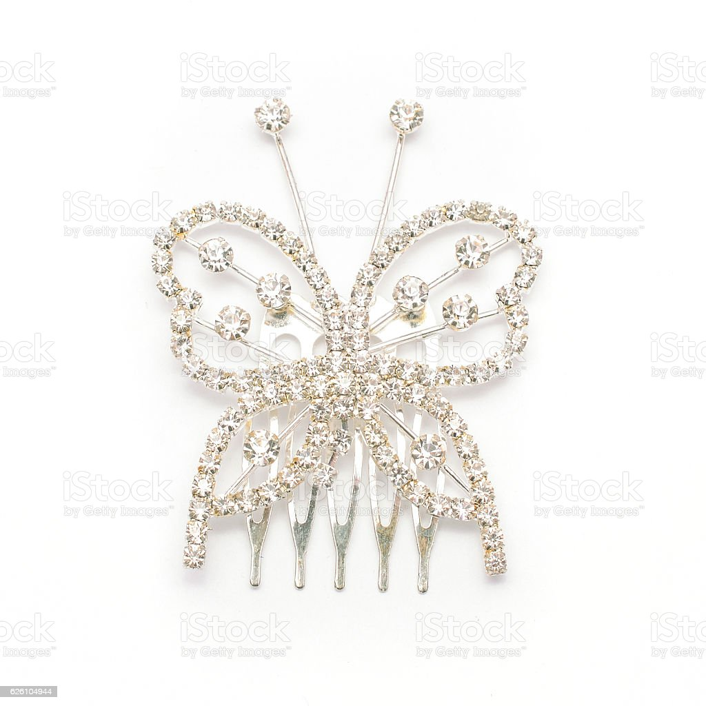 butterfly hairpin with diamonds stock photo