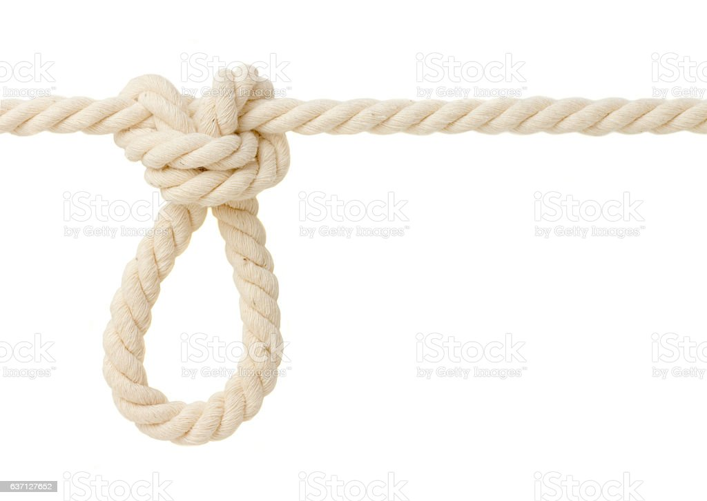 Butterfly knot on white rope stock photo