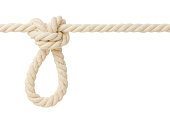 Butterfly knot on white rope