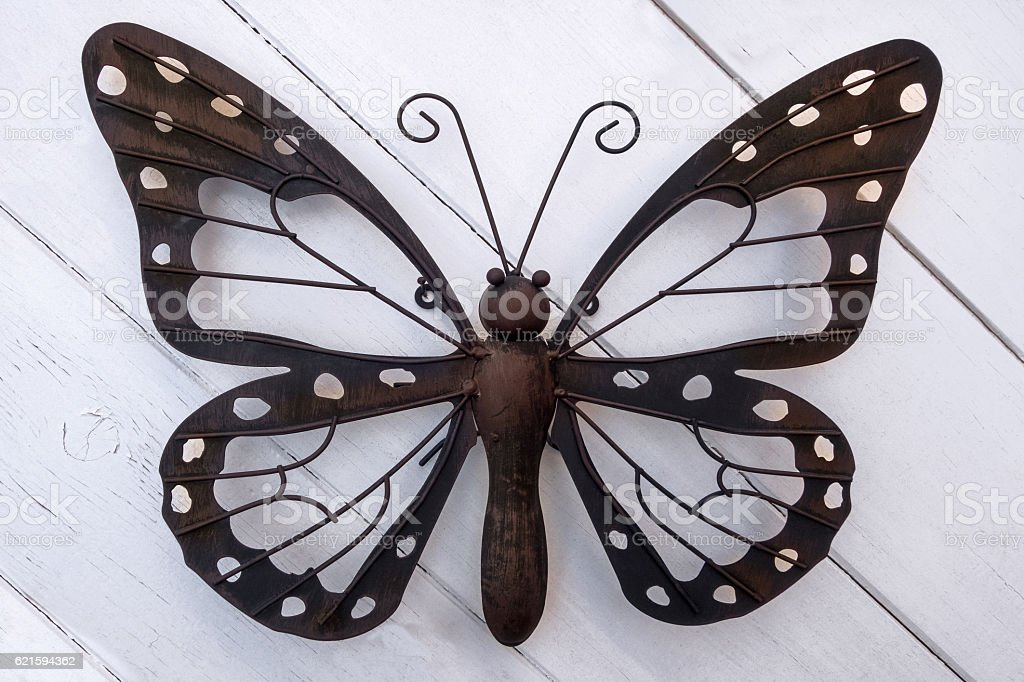 Butterfly made of metal stock photo