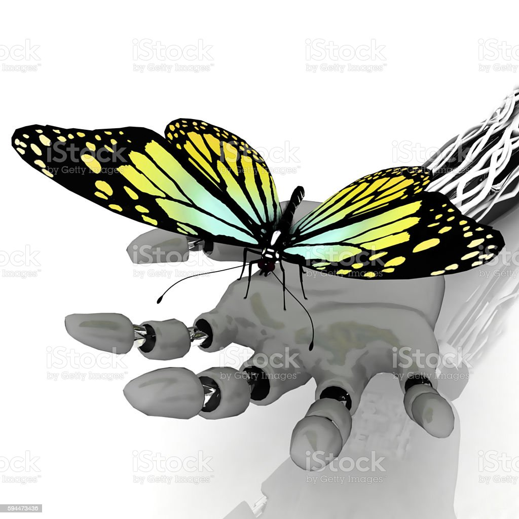 Butterfly on a hand of robot stock photo