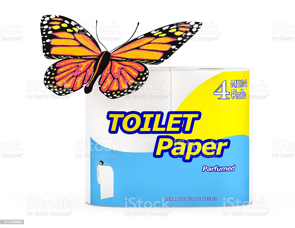 Butterfly over Four Roll of Toilet Paper Package stock photo