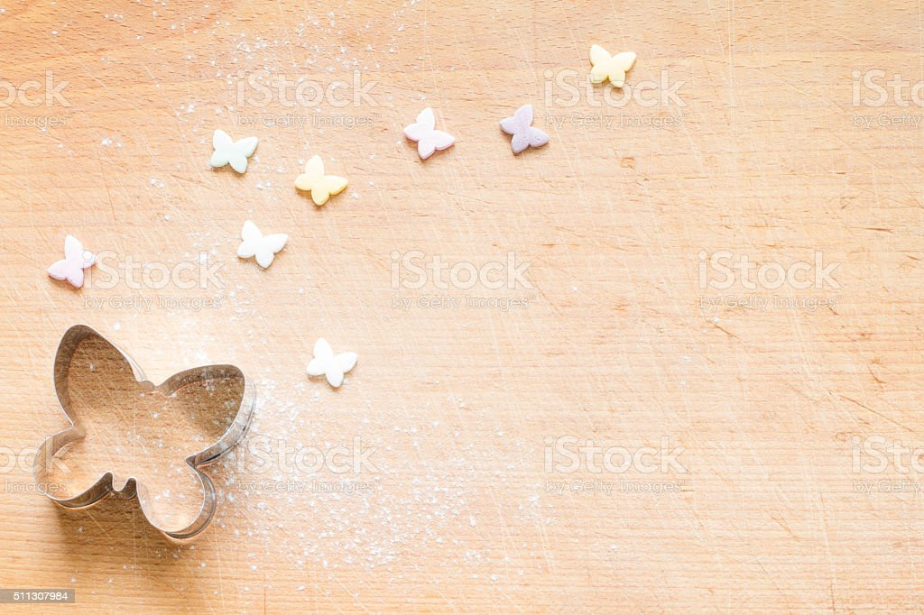 Butterfly pastry cutter food spring easter background stock photo