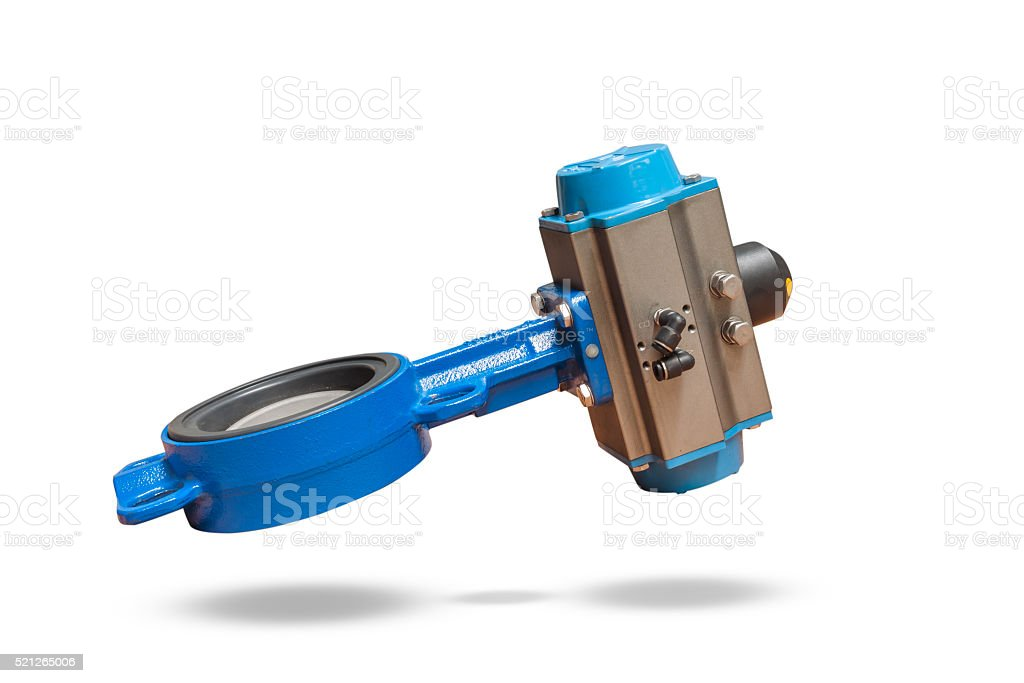 Butterfly valve isolate on white background stock photo