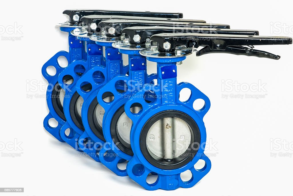 Butterfly valves isolated stock photo