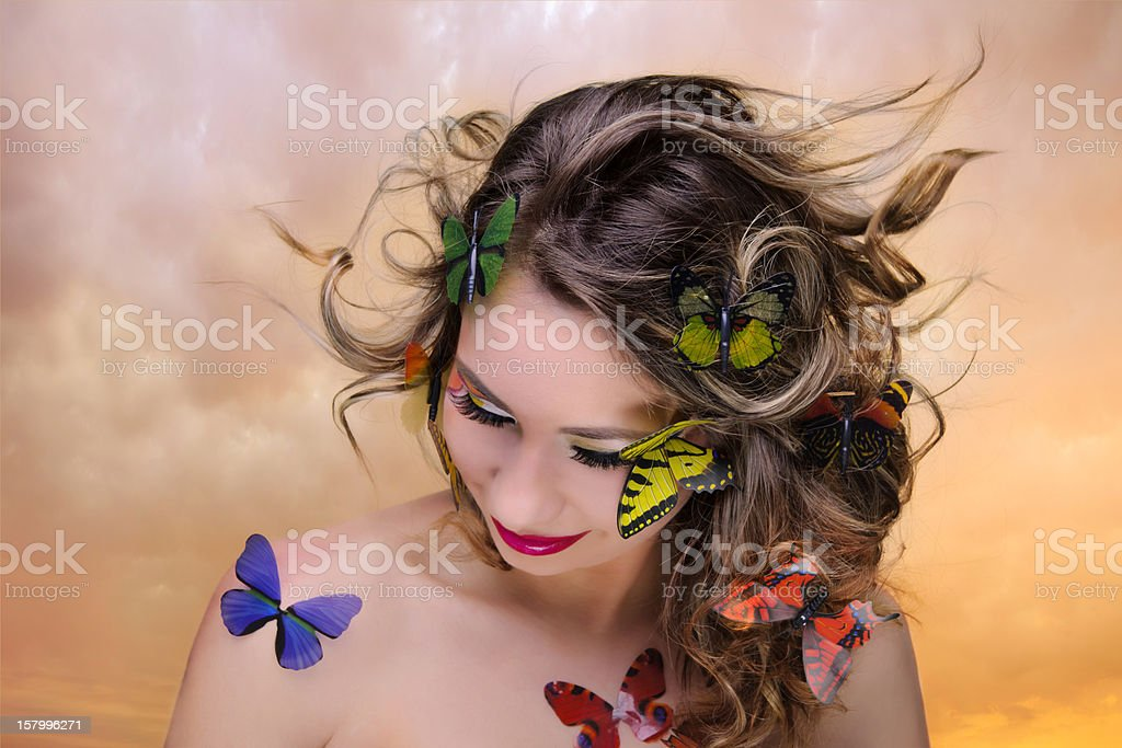 butterfly woman royalty-free stock photo