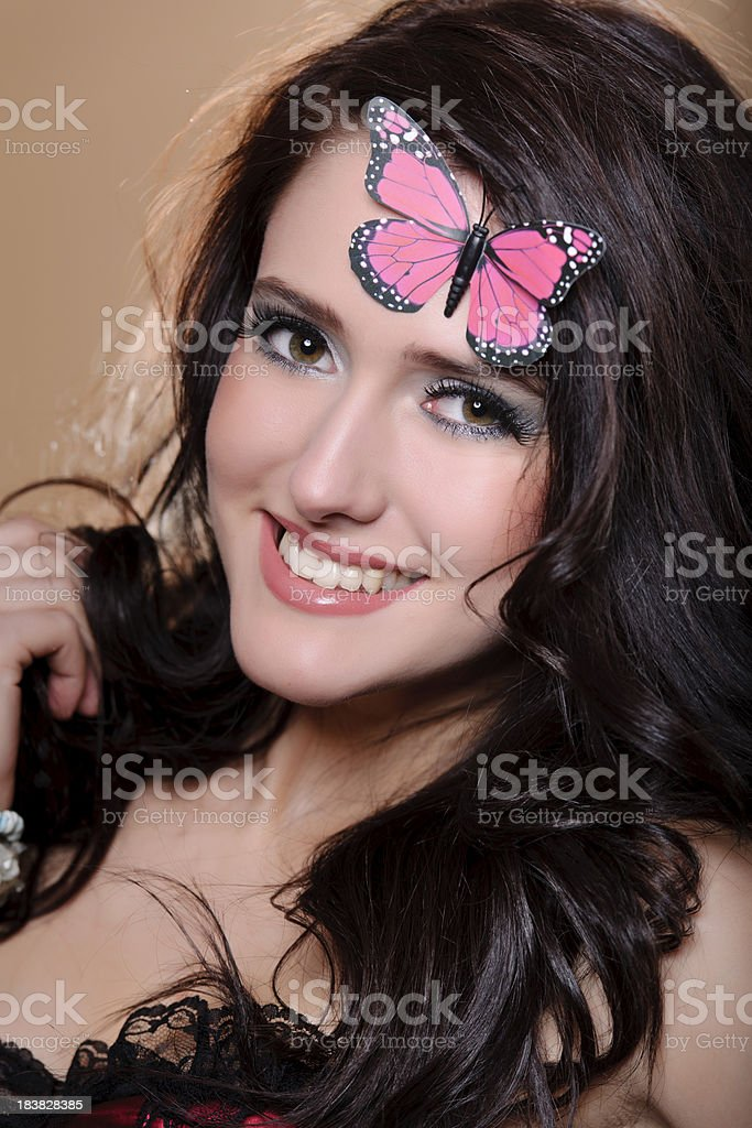 butterfly woman stock photo