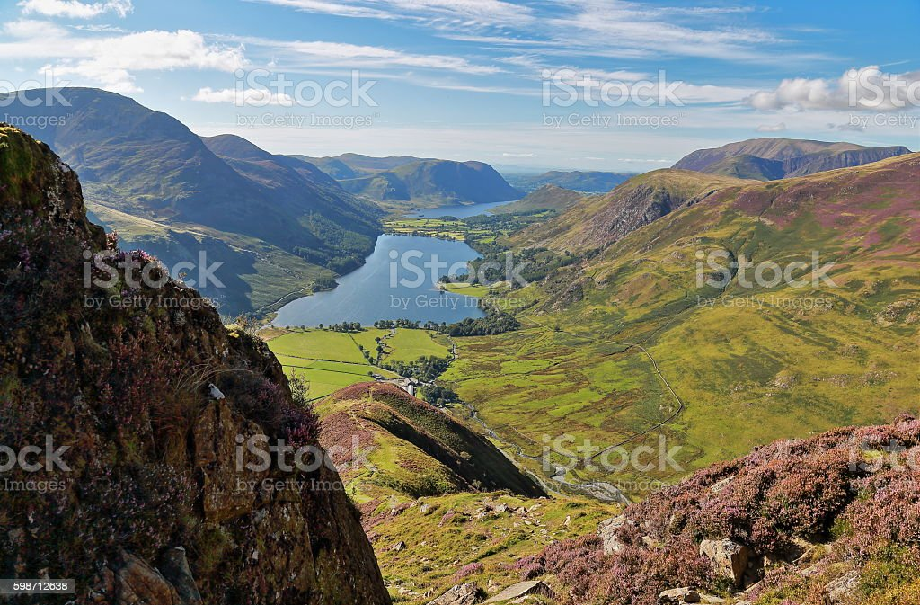 Buttermere from Fleetwith Pike stock photo