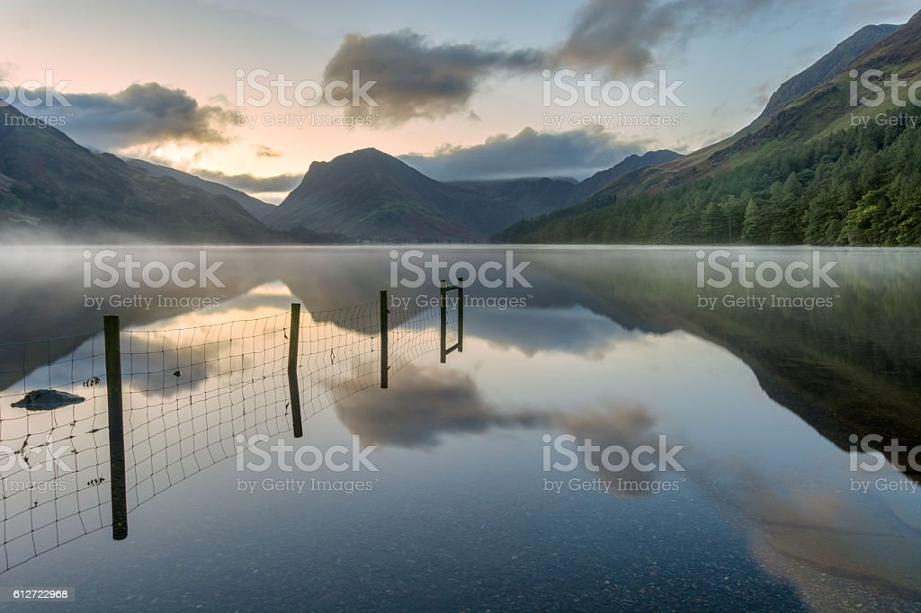 Buttermere sunrise, Lake District, UK. stock photo