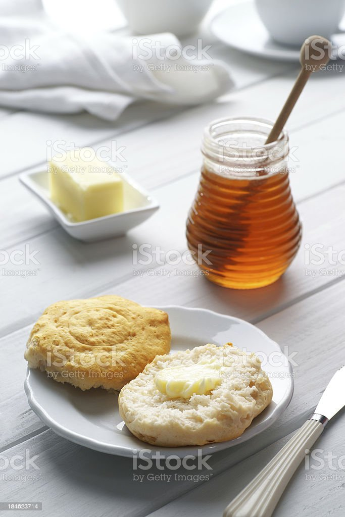 Buttermilk Biscuits with Honey and Butter stock photo