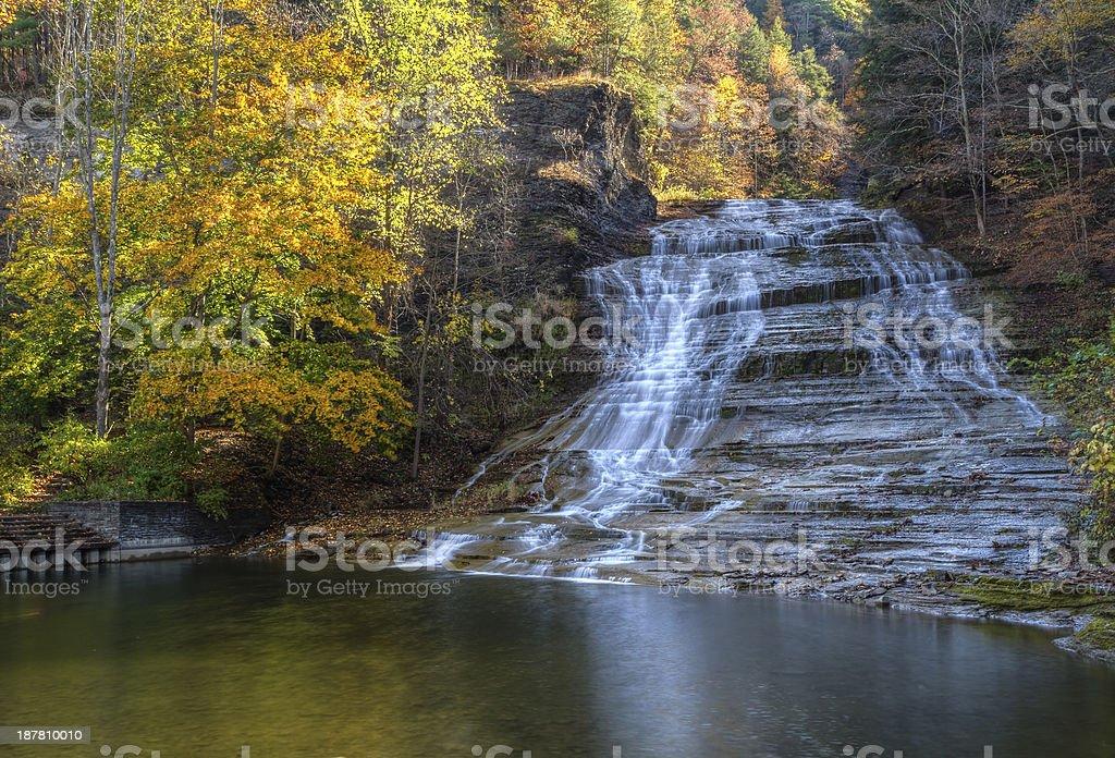 Buttermilk Falls Autumn HDR stock photo