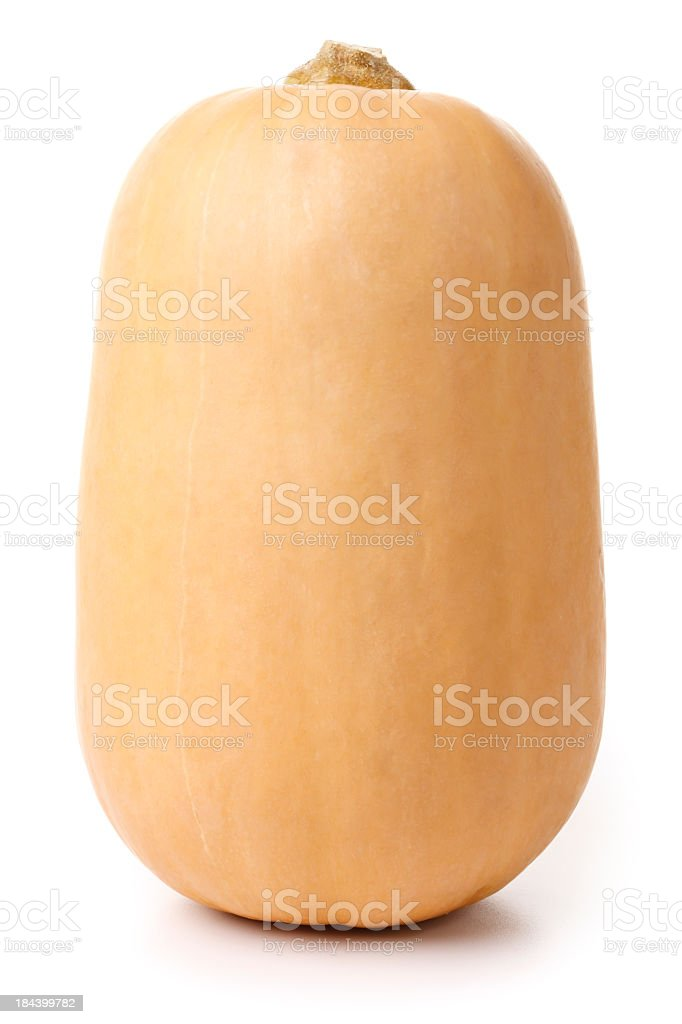 Butternut Pumpkin Isolated + Clipping Path royalty-free stock photo