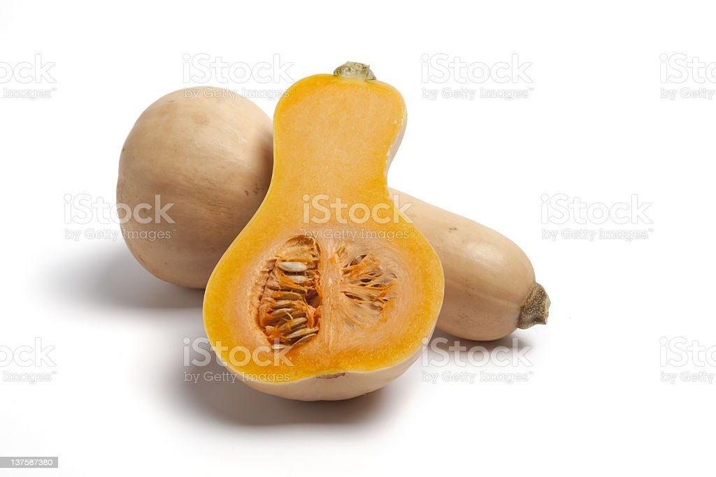 Butternut pumpkin with seeds and pulp stock photo