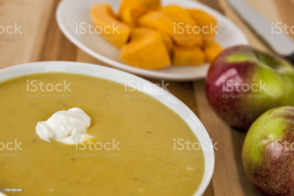 Butternut squash and apple soup stock photo