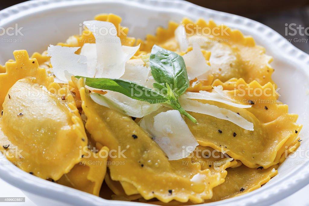 Butternut Squash Mezzaluna Ravioli stock photo