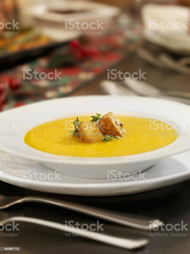 Butternut Squash Soup at Christmas Dinner royalty-free stock photo