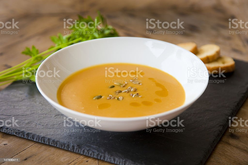 Butternut squash soup. stock photo