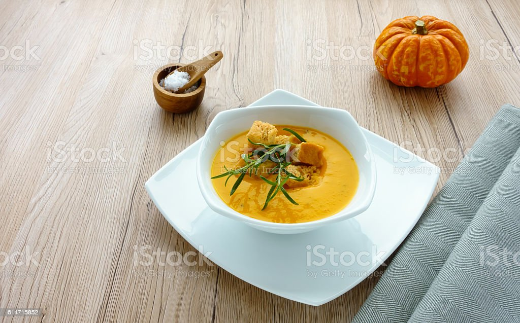 Butternut Squash Soup with Herbs stock photo