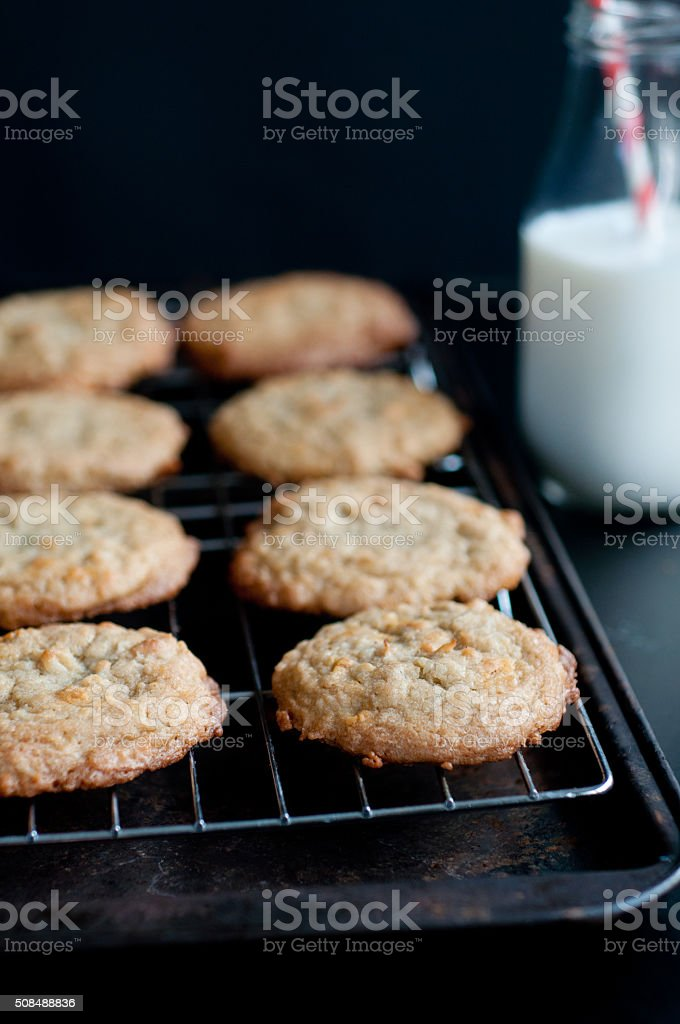 Butterscotch Coconut Cookies stock photo