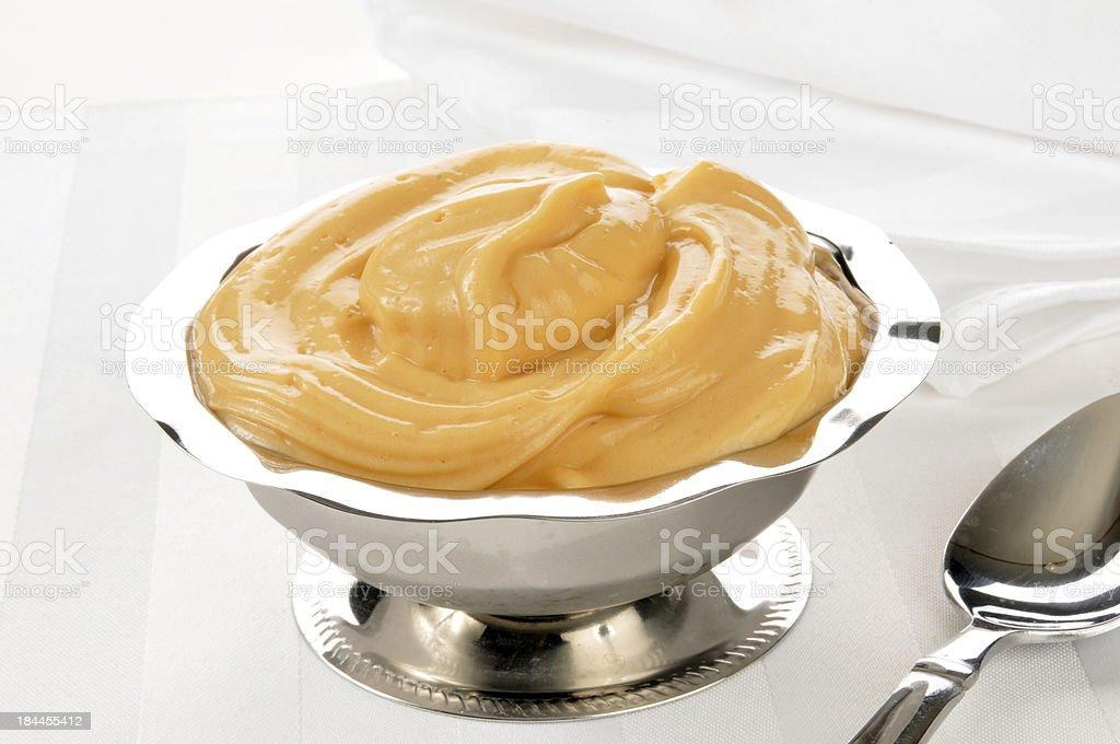 Butterscotch pudding stock photo