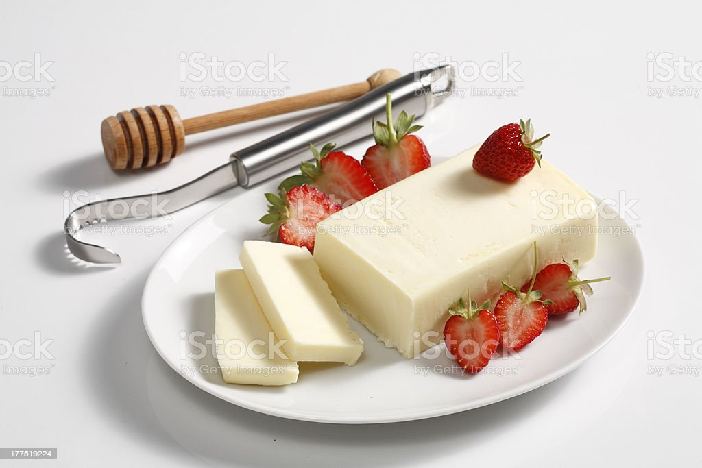 butter,strawberries and curler royalty-free stock photo