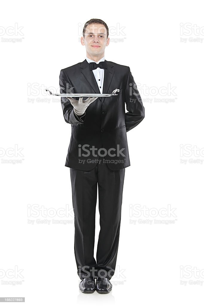 Buttler holding a tray royalty-free stock photo