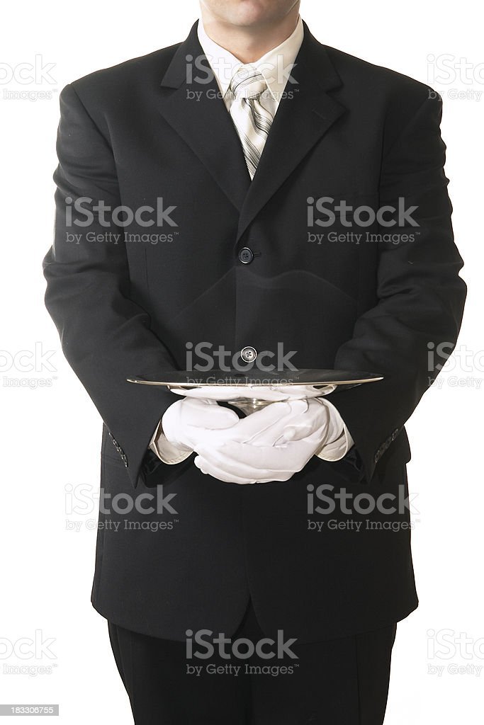 Buttler Serving Empty Silver Tray stock photo