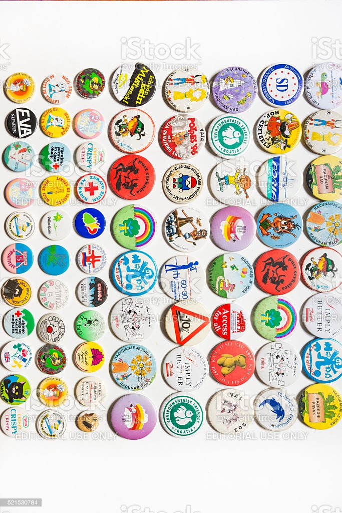 Button Badge collection stock photo