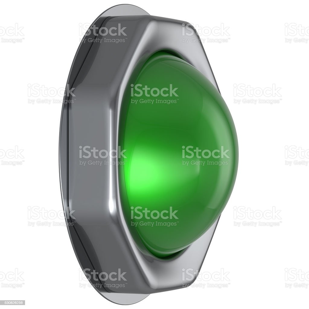 Button green start turn off action push down activate ignition stock photo