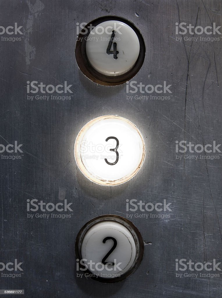 Button number three stock photo