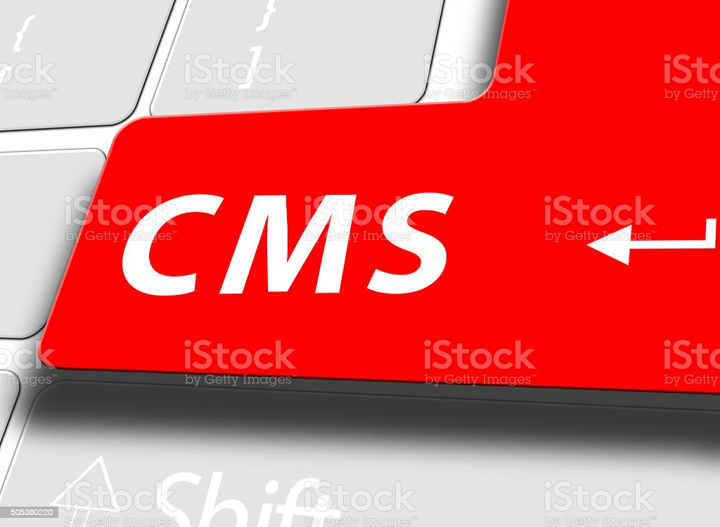 CMS button on computer keyboard stock photo
