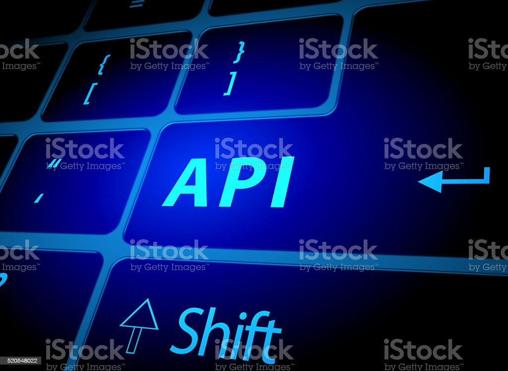 API button on computer keyboard stock photo
