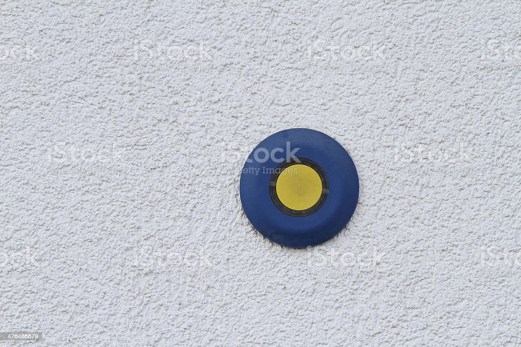 button on grunge wall royalty-free stock photo