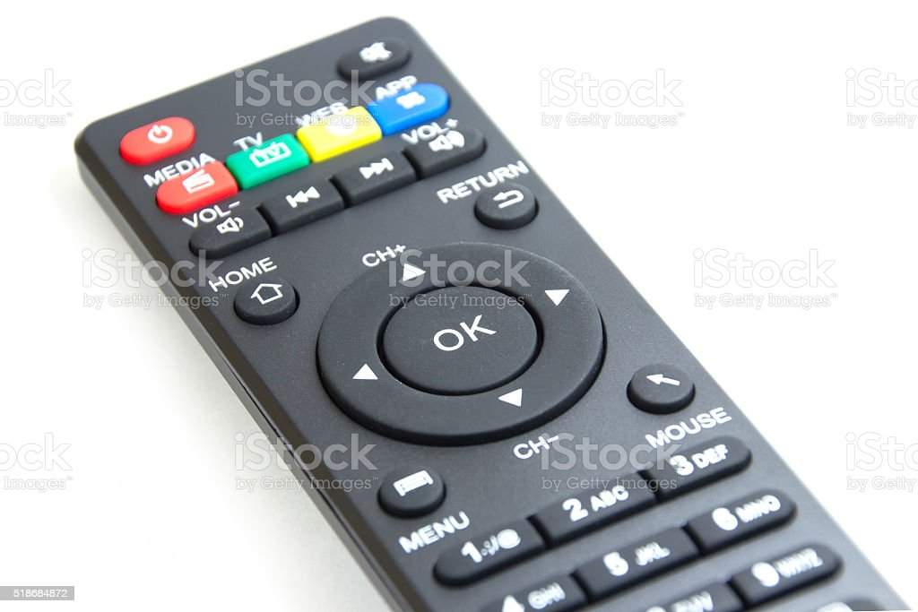 OK button on the smart plyer remote control stock photo