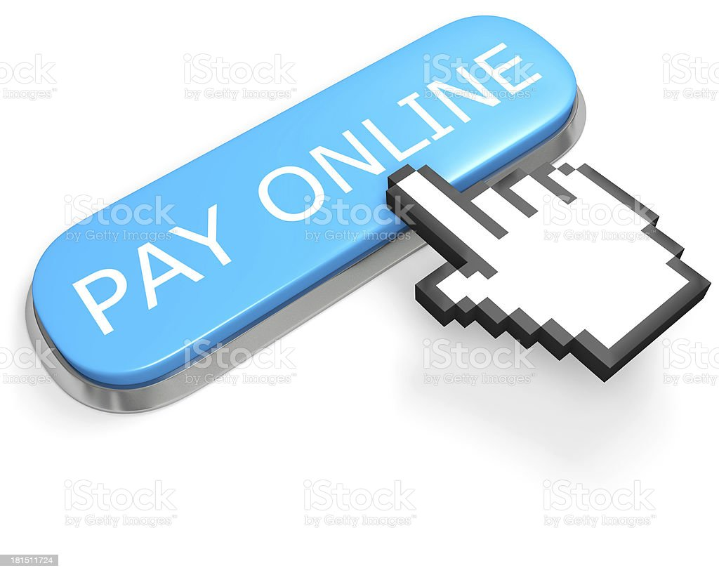 Button PAY ONLINE and hand cursor royalty-free stock photo