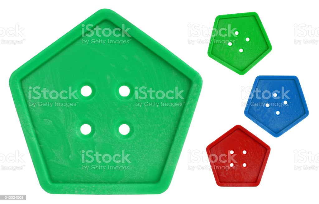 Button pentagonal colorful macro with colors variations stock photo