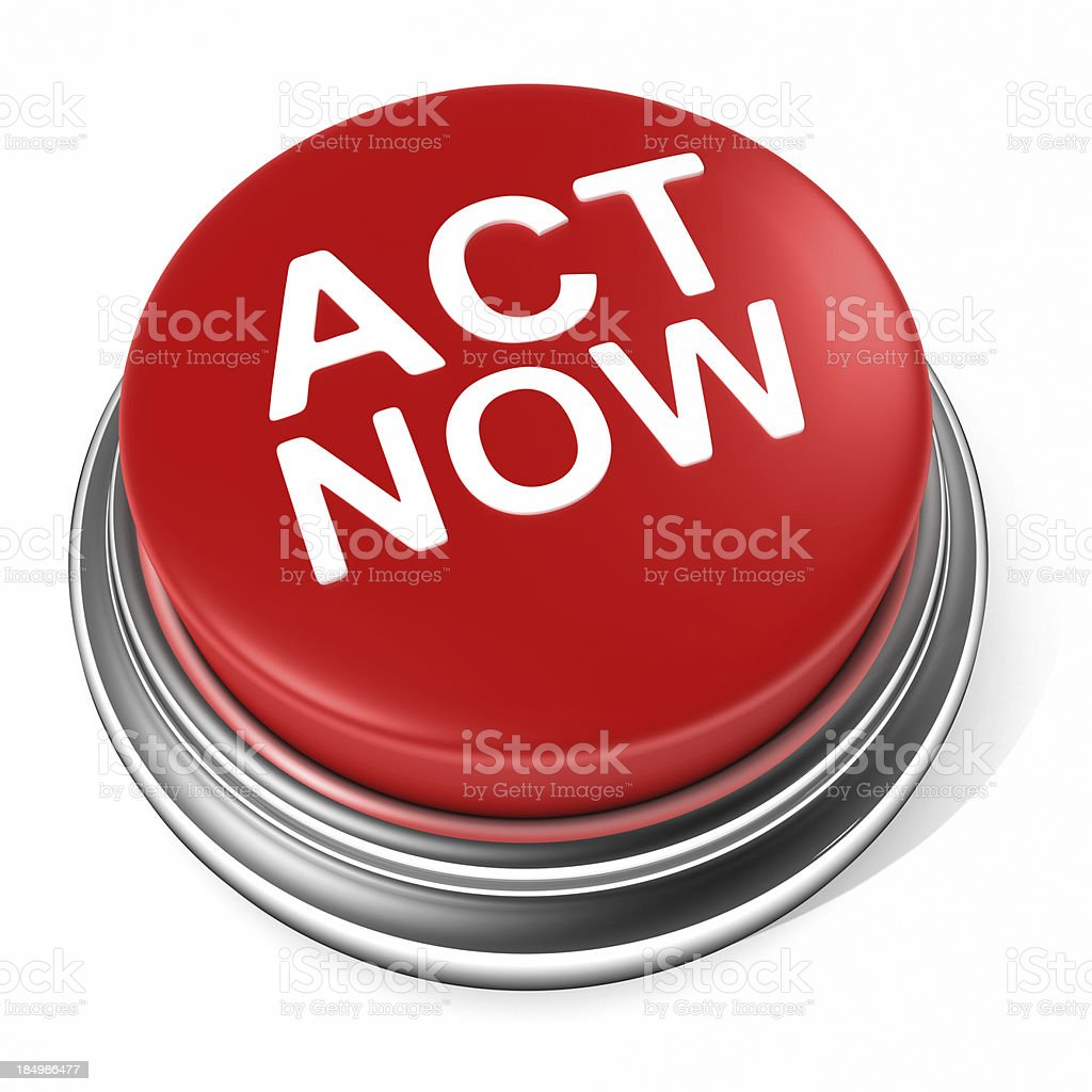 ACT NOW button stock photo