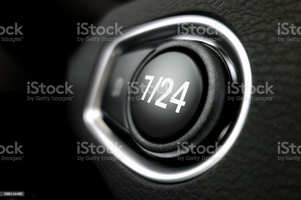 7/24 button stock photo
