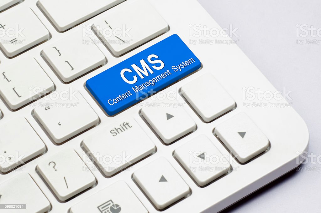 CMS button text stock photo