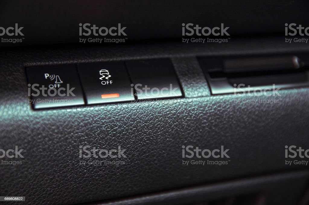 Button to disable traction control in the car stock photo