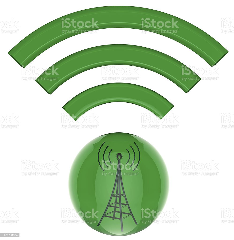 3D button. Transmitter sends information signals stock photo